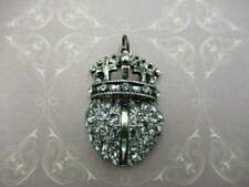 Vintage Style Rhinestone Pendant Heart with Crown Glass Charm Antique Silver 1pc