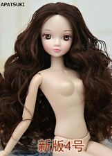 1/6 BJD Doll Kids Toy 12 Joints Moveable Doll Body & Head With Brown Wavy Hair