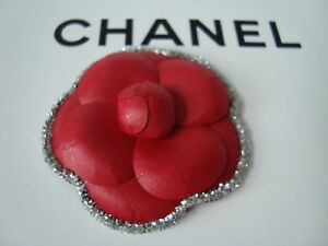 Rare  CHANEL  sticker  red  camellia  flower  with silver  tinsel  vip gift 2016
