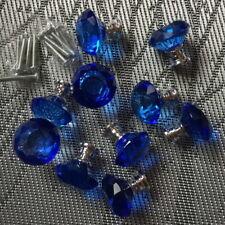 Blue Crystal Kitchen Door Wardrobe Knobs  Cabinet Knob Drawer Pull Handle 10pcs