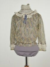 Victorian Blue English Netting / Silk Paisley Print c. 1905 Blouse Sm