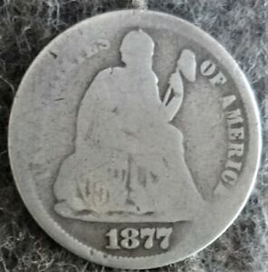 Silver 1877 US Philadelphia Mint Seated Liberty Dime -Type 4