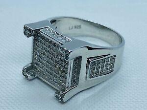 Genuine 925 Sterling Silver 4 Cornered Castle Design CZ Men's Pinky Ring