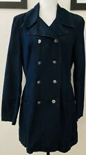 Talbots Double Breasted Denim Look Blue Jacket Trench Coat Size 10
