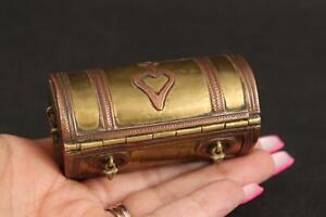 18thC Antique Copper Brass Folk Art Miniature Trunk Puzzle Snuff Box NO RESERVE