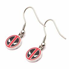 Official Marvel Comics Enamel Deadpool Logo Round Ear Studs Earrings