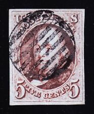 US 1 5c Franklin Used VF 4 Margins w/ Black Grid Cancel & PF Cert SCV $475