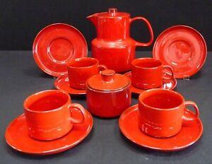 Ceracron Melitta Red/Burnt Orange Teaset 12 Piece 1970s