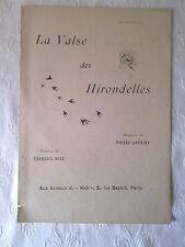 """PARTITION ANCIENNE : """"La Valse des Hirondelles"""", début XXè"""
