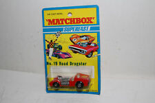 MATCHBOX SUPERFAST #19 ROAD DRAGSTER, RED, #8 LABELS, NEW IN BLISTERPACK