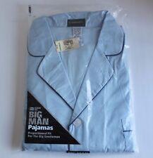 Men's 2X Tall G. Mansour's Light Blue Big Man Long Sleeve & Length Pajamas Set