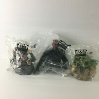 Lot of 3, Star Wars Episode 1 Cup Lid Topper Figures, Darth Maul Yoda