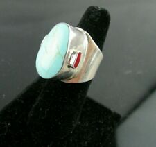 Solid Sterling Silver/925 Turquoise & Jasper Ring Very Unique Setting SZ 6.75