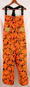 Vintage Woolrich Mens Hunting Bibs Overalls Camo Orange Size XL Insulated