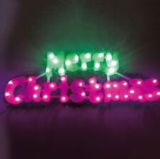 50cm Decorative Merry Christmas Light Up LED Sign Plaque With Green Garland Trim