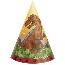 DINOSAUR Dino Times CONE HATS (8) ~ Birthday Party Supplies Favors Jurassic