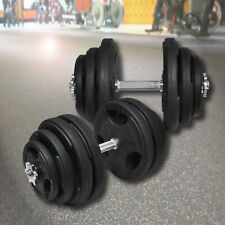 40cm Dumbell Bar Weight Set - Rubber Coated Weight Plate - Choose 19kg to 64kg