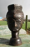 Vintage African Statue Hand Made Carved Wood  Tribal Art Man Jar Gorgeous