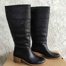 UGG Carlin Black Leather Riding Knee High Heel Tall Boots Size 9 Womens