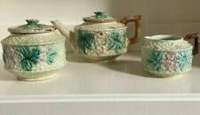 ANTIQUE  MAJOLICA  3 PIECE TEA SET -FLORAL/Leaf & BASKET WEAVE Design