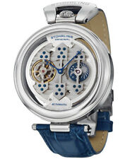 Stuhrling Original Emperor 1889 Triple Bridge Automatic 127B Blue Leather Watch