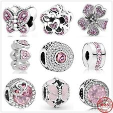 925 Sterling Silver Pink Butterfly Beads Pandora Charms Bracelet Women Jewelry