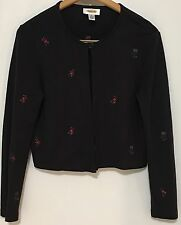 Talbots Floral Embroidery Black Cardigan Sweater Sz S Long Sleeve Single Button