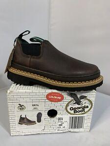 Georgia Kids Boys Soggy Brown Leather Little Giant Romeo Slip On Shoes Sz 3 NEW