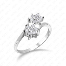 14K Gold Finish Women's Ring Double Floral Cluster Round Simulated Diamond