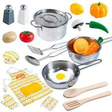 Kids Play Food Stainless Steel Cookware Set Toy Kitchen Pretend Toddler Gift New