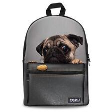 Funny Pug Bag Canvas Backpack Boys Girls School Bag Rucksack Daypack Knapsack
