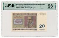 BELGIUM banknote 20 Francs 1950 PMG AU 58 Choice About Uncirculated