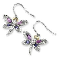 925 Silver & 14K Amethyst and Iolite and Diamond Dragonfly Earrings 21mm x 27mm