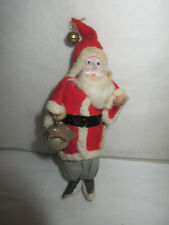 Vintage Clay Face Santa Holding Glass Ball Ornament