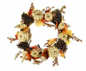 Martha Stewart Collection 249228 Harvest Gilded Pumpkin Artificial Wreath