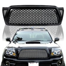 For 05-11 Toyota Tacoma Honeycomb Mesh Black Front Bumper Hood Grill Grille