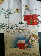 Vtg Snoopy Woodstock Xmas Tablecloth Placemats Coasters Hallmark Peanuts Schulz