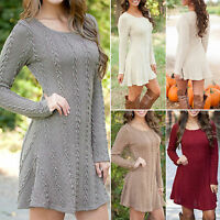 Women Knit Long Sleeve Dress Skater Pullover Jumper Sweater New Midi Swing Dress