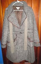 Christopher Banks LONG WINTER Coat Size XL BROWN TAN ROSE BUTTONS + SCARF