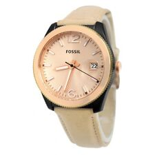 Fossil Women's Rose Gold Dial Sand Brown Leather Ladies Watch ES3777