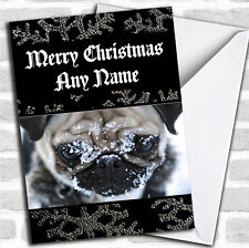 Pug Dog In The Snow Christmas Customised Card