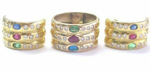 18Kt Multi Gem Diamond Yellow Gold Jewelry Earring & Ring 3.51Ct