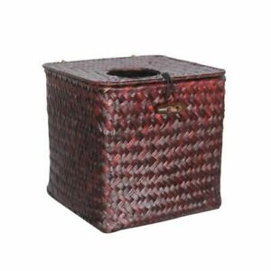 Bathroom  Straw Tissue Box Dispenser Durable Classic Square Shaped Decoration