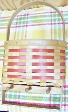 country primitive hanging basket or wall pocket, wicker, with 3 wood pegs