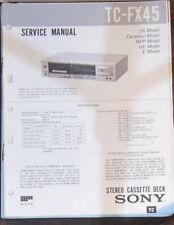 Sony TC-FX45 registratore a cassette Servizio di Riparazione Officina Manuale (copia originale)