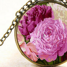 New Peony Roses Pink Flowers, Bronze Pendant Necklace, Floral Garden Lovers Gift
