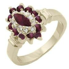 14K GOLD EP 1.95CT DIAMOND SIMULATED RUBY RING size 5 or J 1/2