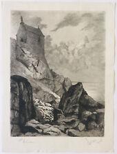 Grande gravure eau-forte Henri Voisin Mont Saint Michel chapelle Saint-Aubert