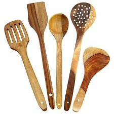 Wooden Spoon Serving Cooking Utensil Wood Kitchen Dining Tools Utensil Set of 5