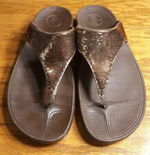 FitFlop Electra Sequin Metallic Copper Sandals Size 10